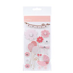 American Crafts - Pebbles - New Arrival Collection - 3 Dimensional Stickers - Girl Words