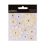 American Crafts - Pebbles - Mr and Mrs Collection - 3 Dimensional Stickers - Flowers - Flocked