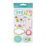 American Crafts - Pebbles - Floral Lane Collection - 3 Dimensional Stickers - Icon
