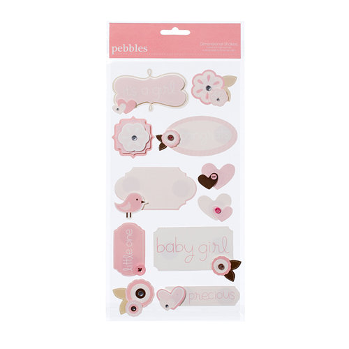 American Crafts - Pebbles - New Addition Girl Collection - 3 Dimensional Stickers - Phrases and Icons