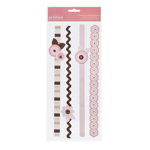 American Crafts - Pebbles - New Addition Girl Collection - 3 Dimensional Stickers - Border