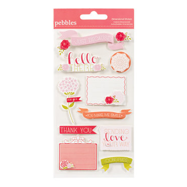 American Crafts - Pebbles - Country Picnic Collection - 3 Dimensional Stickers - Phrase and Icon