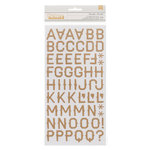 American Crafts - Pebbles - Walnut Grove Collection - Thickers - Corrugated Alphabet Stickers - Mercantile - Kraft