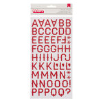 American Crafts - Pebbles - Walnut Grove Collection - Thickers - Corrugated Alphabet Stickers - Mercantile - Crimson