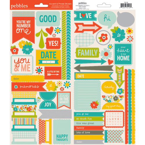 American Crafts - Pebbles - Seen and Noted Collection - Cardstock Stickers - Accent and Phrase