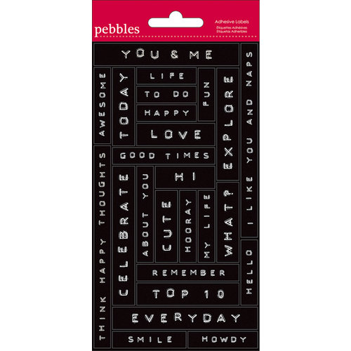 American Crafts - Pebbles - Seen and Noted Collection - Embossed Adhesive Labels - Label Maker Phrases - Black