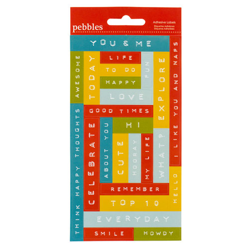 American Crafts - Pebbles - Seen and Noted Collection - Embossed Adhesive Labels - Label Maker Phrases - Multicolored