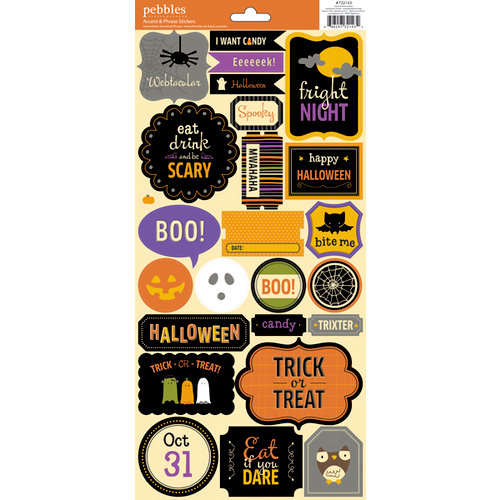 American Crafts - Pebbles - Tricks and Treats Collection - Halloween - Cardstock Stickers - Accent and Phrase