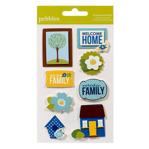 American Crafts - Pebbles - Family Ties Collection - 3 Dimensional Stickers
