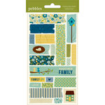 American Crafts - Pebbles - Family Ties Collection - Embossed Stickers - Masking Tape