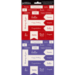 American Crafts - Pebbles - Basics Collection - Cardstock Stickers - Mini Phrases - Rouge and Purple