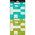 American Crafts - Pebbles - Basics Collection - Cardstock Stickers - Mini Phrases - Aqua and Green