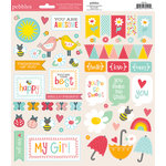American Crafts - Pebbles - Love You More Collection - Cardstock Stickers - Accent and Phrase - Girl