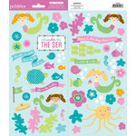 American Crafts - Pebbles - Party with Amy Locurto - Cardstock Stickers - Accent and Phrase - Mermaid