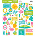 American Crafts - Pebbles - Party with Amy Locurto - Cardstock Stickers - Accent and Phrase - Pool