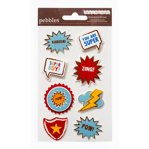 American Crafts - Pebbles - Party with Amy Locurto - 3 Dimensional Stickers - Hero
