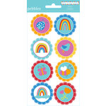American Crafts - Pebbles - Party with Amy Locurto - Cardstock Stickers - Round - Rainbow