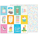 Pebbles - Happy Hooray Collection - 12 x 12 Double Sided Paper - Birthday Wishes