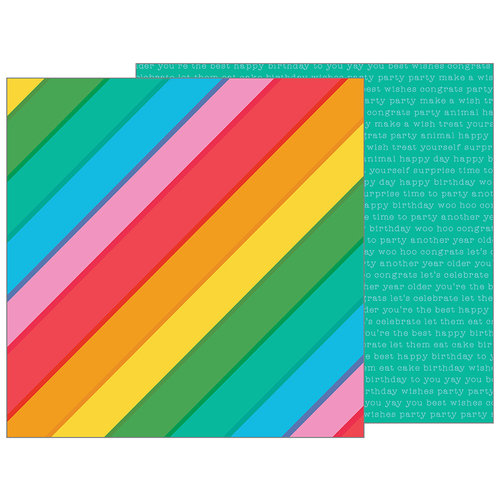 Pebbles - Happy Hooray Collection - 12 x 12 Double Sided Paper - Rainbowtastic