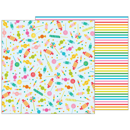 Pebbles - Happy Hooray Collection - 12 x 12 Double Sided Paper - Candy Shoppe