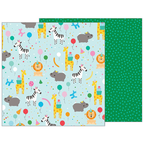 Pebbles - Happy Hooray Collection - 12 x 12 Double Sided Paper - Party Animal