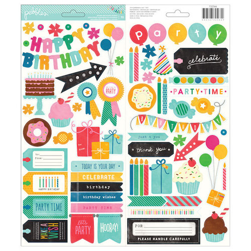 Pebbles - Birthday Wishes Collection - Cardstock Stickers - Icons and Phrases