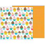 Pebbles - Happy Hooray Collection - 12 x 12 Double Sided Paper - Eat Cake