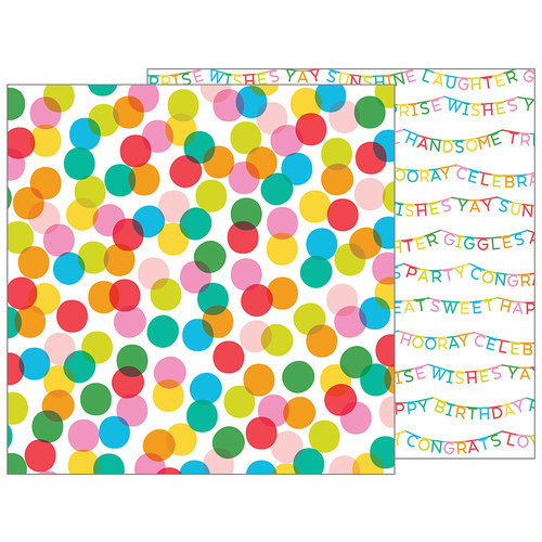 Pebbles - Happy Hooray Collection - 12 x 12 Double Sided Paper - Celebrate