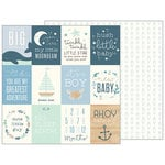 Pebbles - Night Night Collection - 12 x 12 Double Sided Paper - Ahoy Baby Boy