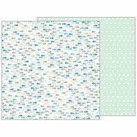 Pebbles - Night Night Collection - 12 x 12 Double Sided Paper - Gone Fishing