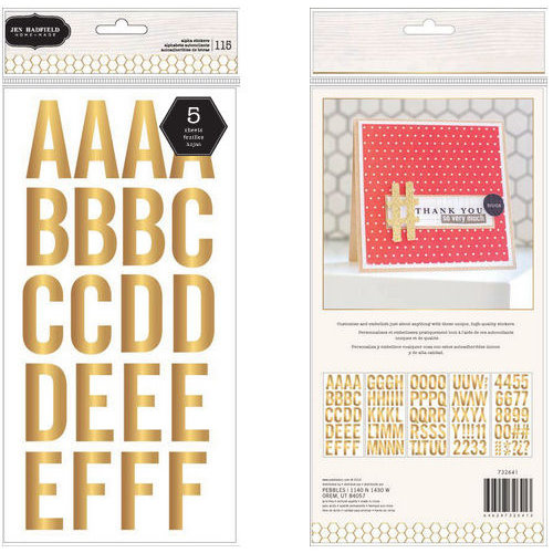Pebbles - Homemade Collection - Large Alphabet Stickers - Gold