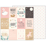 Pebbles - Night Night Collection - 12 x 12 Double Sided Paper - Sweet Baby Girl