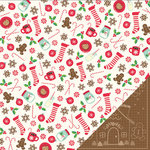 Pebbles - Home For Christmas Collection - 12 x 12 Double Sided Paper - Gingerbread
