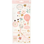 Pebbles - Night Night Collection - Cardstock Stickers with Foil Accents - Girl