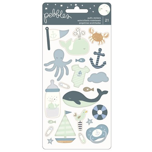 Pebbles - Night Night Collection - Puffy Stickers - Boy