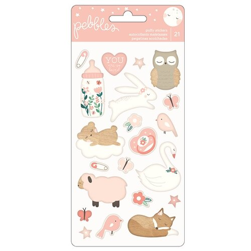 Pebbles - Night Night Collection - Puffy Stickers - Girl