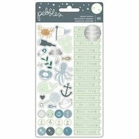 Pebbles - Night Night Collection - Cardstock Stickers with Foil Accents - Repeat - Boy