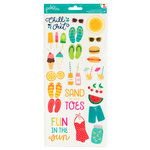 Pebbles - Fun In The Sun Collection - Cardstock Stickers - Icons