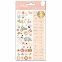Pebbles - Night Night Collection - Cardstock Stickers with Foil Accents - Repeat - Girl