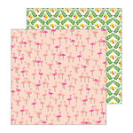 Pebbles - Patio Party Collection - 12 x 12 Double Sided Paper - Let's Flamingo
