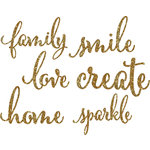 Pebbles - DIY Home Collection - Die Cut Chipboard Pieces with Glitter Accents - Words