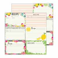 Pebbles - Patio Party Collection - 12 x 12 Double Sided Paper - Recipe Cards