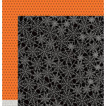 Pebbles - Boo Collection - Halloween - 12 x 12 Double Sided Paper - Spiderwebs
