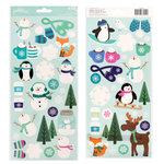 Pebbles - Winter Wonderland Collection - Christmas - Cardstock Stickers with Glitter Accents - Icons