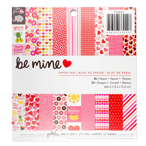 Pebbles - Be Mine Collection - 6 x 6 Paper Pad