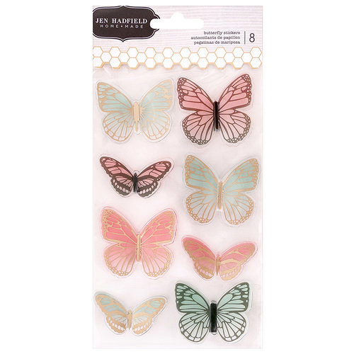 Pebbles - Patio Party Collection - 3 Dimensional Stickers with Foil Accents - Butterfly