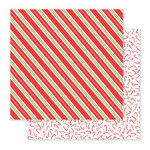 Pebbles - Holly Jolly Collection - Christmas - 12 x 12 Double Sided Paper - Candy Stripes