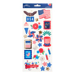 Pebbles - America the Beautiful Collection - Cardstock Stickers with Foil Accents - Icons and Accents