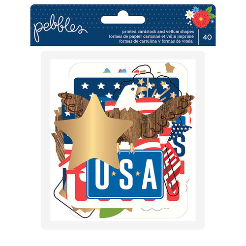 Pebbles - America the Beautiful Collection - Ephemera with Foil Accents