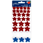 Pebbles - America the Beautiful Collection - Glitter Stickers - Stars - Red, White, Blue
